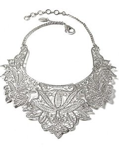 Gorgeous Silver Intricate Bib Necklace