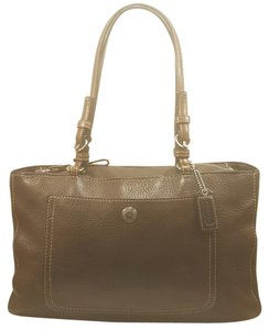 Coach Leather Pebbled Leather Buckles Tote Carryall Satchel in Brown