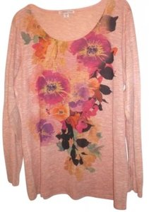 Coldwater Creek T Shirt Peach floral