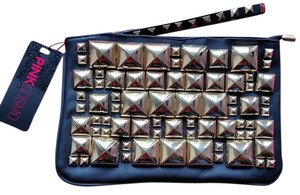 Pink Cosmo Studded Rocker Edgy Metallic Hardware Black Clutch