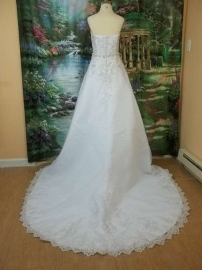 DaVinci Bridal White/Silver Organza 50009 Formal Wedding Dress Size 10 (M)