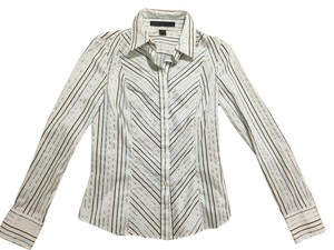 Express Studio Stripe Shirt Work Button Down Shirt Blue stripe