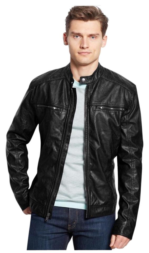 212004fa MICHAEL Michael Kors Black Men's Conway Faux Leather Moto Jacket ...