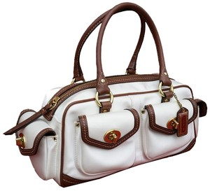 Coach Satin Satchel in Vintage IVORY WHITE and BROWN LEATHER