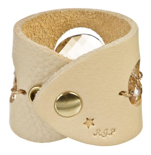 Robert Palazzolo Robert Palazzolo Cream Leather Rhinestone Bracelet 8477-35