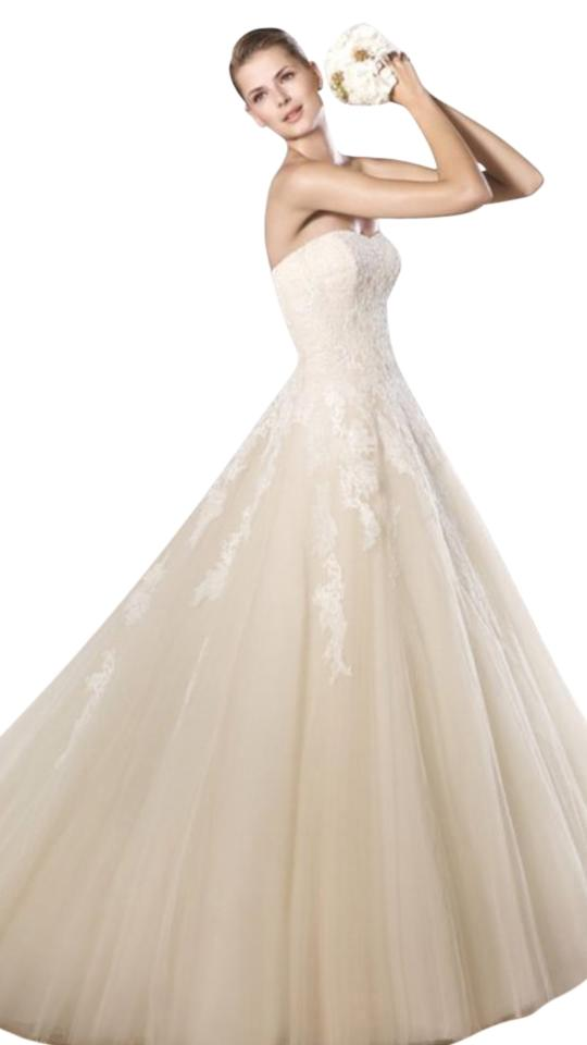 Pronovias Off White Tulle Lace Octavia New Formal Wedding Dress Size 2 XS