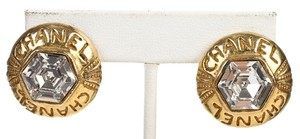 Chanel Chanel Gold Rhinestone Clip On Earrings