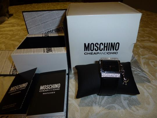 Moschino Silver plated Black Leather Quartz Rhinestones Accents Watch