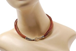 British Tan/Tan Leather Cord Choker Necklace w/Sterling Hook Closure - 16