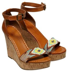 American Eagle Outfitters Ikat Cork Platform Tan Wedges