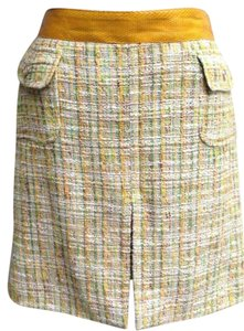Dolce&Gabbana Mini Skirt Yellow sage green white tweed