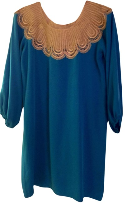 Item - Turquoise Vintage Style Gold Lace Above Knee Cocktail Dress Size 4 (S)
