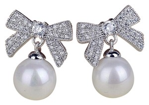 Cute Adorable Faux Pearl Drop Bow Earrings Silver Plated