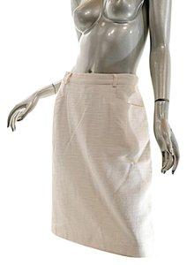 Wathne Linen Basket Weave Skirt White