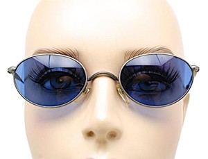Matsuda MATSUDA Pewter Oval Metal Frame Sunglasses w/Blue Lens - 2854 - GREAT