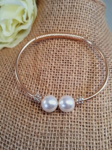 Other Adorable Gold Plated Double Pearl Bangle