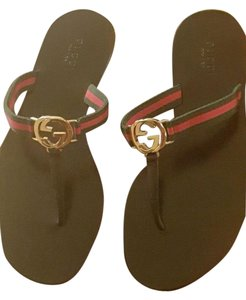 Gucci BLACK WITH GREEN ANDRED STRAP Flats