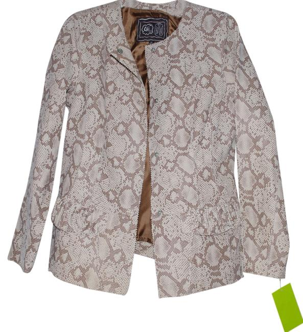 Preload https://item1.tradesy.com/images/beige-chi-by-falchi-sneak-print-leather-women-jacket-pocket-snap-sizexs-blazer-size-2-xs-1519985-0-0.jpg?width=400&height=650