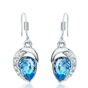 Blue Swarovski Elements Charm Thick White Gold Plated Dangle Earrings