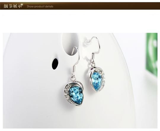 Swarovski Elements Charm Thick White Gold Plated Blue Dangle Earrings