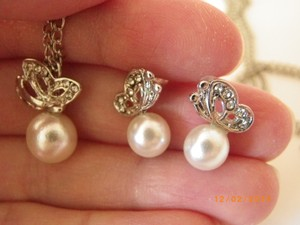 Other Set Of 8 Rhinestone Crystal Cream Pearl Pretty Butterfly Set Of Necklace And Earring