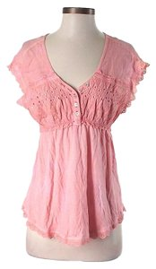 Free People Lace Trim Top Pink