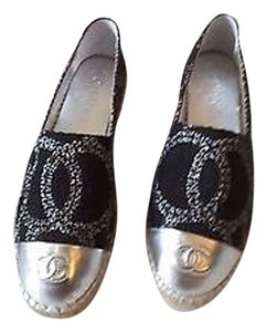 Chanel New Silver Espadrille Black Flats