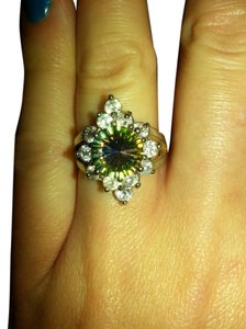 Other gorgeous rainbow and white topaz cluster cocktail ring size 8