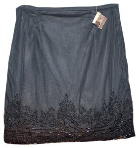 Miss Selfridge Sequined Evening Sexy Beaded Cocktail Mini Skirt Black Beaded