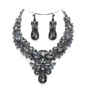 Black Diamond Rhinestone Crystal Gunmetal Floral Necklace and Earrings