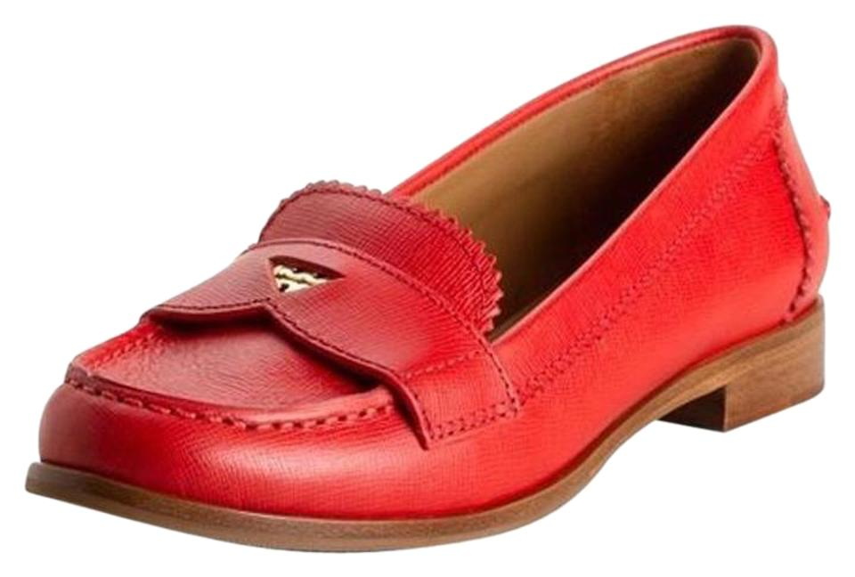 8622a14b078 Tory Burch Red Leather Penny Loafers Flats Size US 6 Regular (M