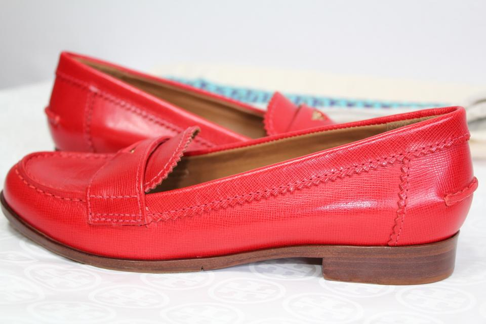 Tory Burch Red 6 Leather Penny Loafers Shoes!! Flats ...