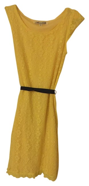 Other short dress Yellow Fitted Mesh Material Navy Blue Ribbon Bow on Tradesy