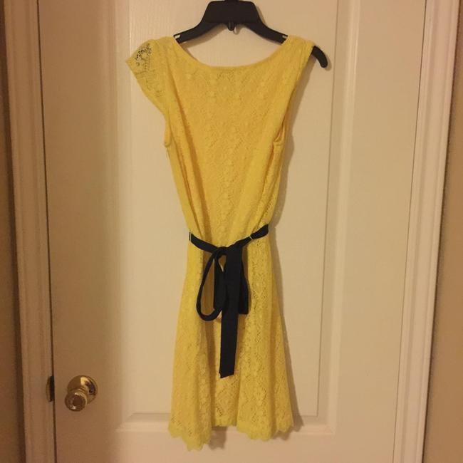 Other short dress Yellow Fitted Material Navy Blue Ribbon Bow on Tradesy