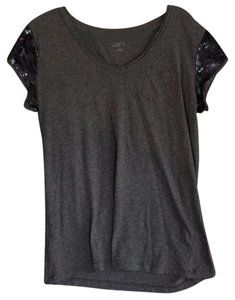 Ann Taylor LOFT T Shirt Gray with Blue sequins