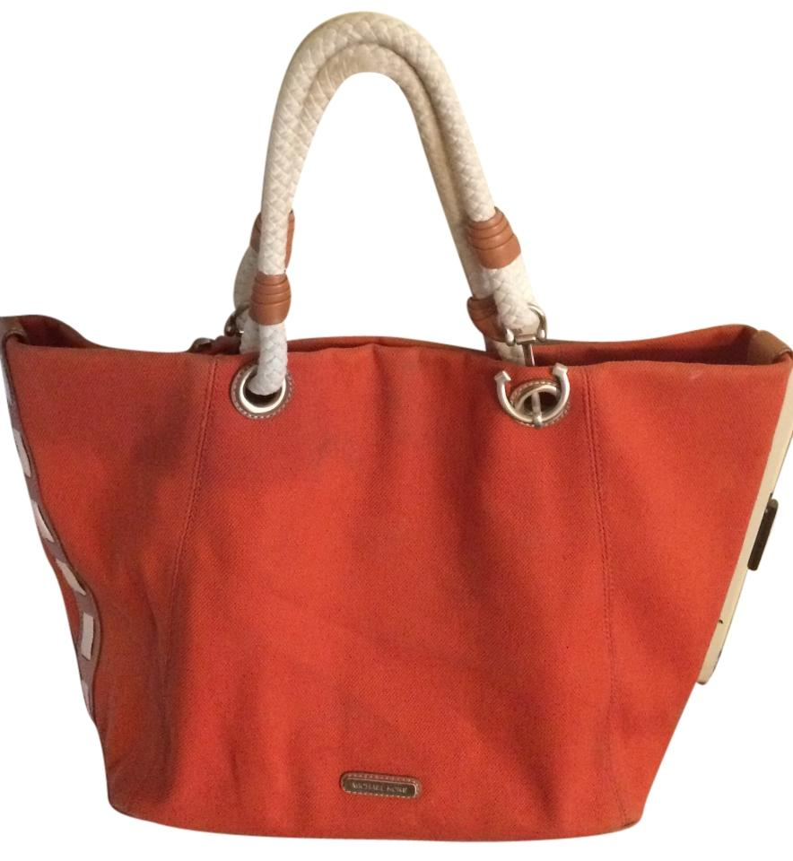 3dddcf3e5b58 Michael Kors Large Marina Md Grab Hemp Anchor Rope Tote Tangerine ...