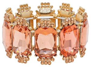 Emerald Cut Rhinestone Crystal Peach Gold Bracelet