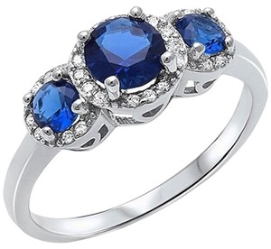 9.2.5 gorgeous blue and white sapphire halo cocktail ring size 7