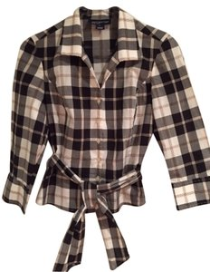 Jones New York Top Black And White Plaid