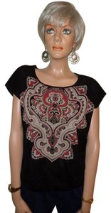 Chico's Top Black with multi-color