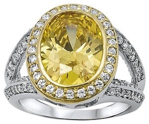 9.2.5 amazing upscale yellow and white topaz cocktail ring size 8.