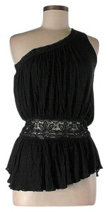 Free People One Shoulder Lace Trim Top Black