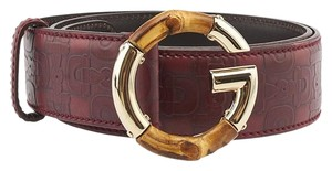 Gucci Gucci Red Leather Bamboo Belt, Size 34 (83099)