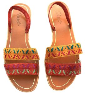 Nine West Leather Strappy Multi-Color Sandals