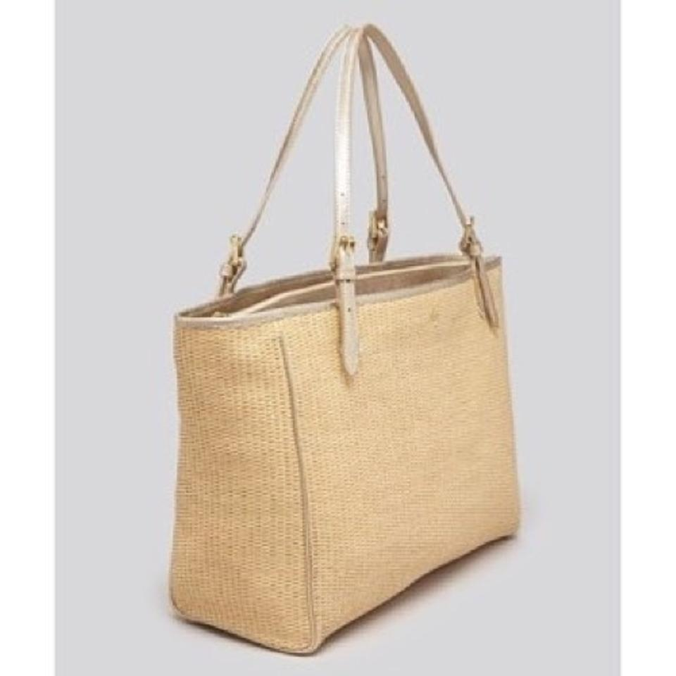 051943c9a123 Tory Burch York Small Straw Buckle Natural Gold Leather Tote - Tradesy