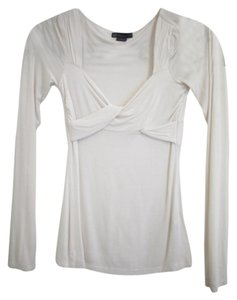 A|X Armani Exchange Draped Wrapped Fitted Top White