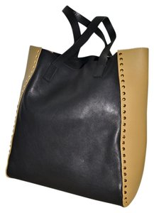 Marni Italy Color Block Leather Tote in Charcoal Grey and Peanut Tan