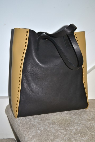 Marni Italy Color Block Leather Tote in Charcoal Grey and Peanut Tan Image 1