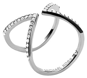 Michael Kors Michael Kors Open Arrow Ring Clear Pave SIlver Tone Size 6 With Dust Pouch