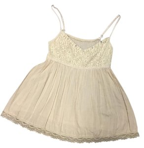 Lace Boho Lace Trim Top Beige